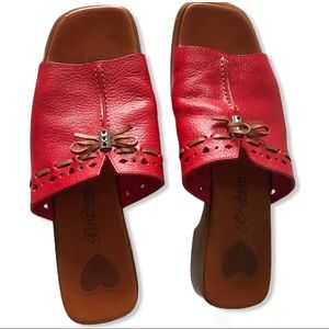 Brighton JAVA Red Slip-on Sandals - 8.5